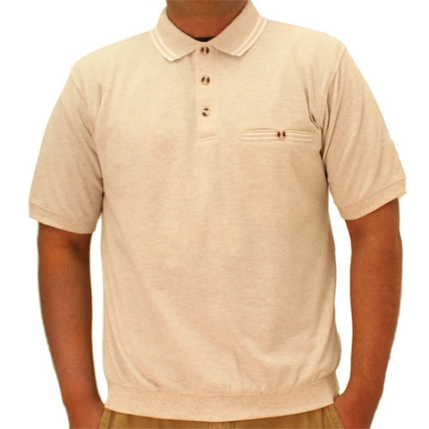 Safe Harbor Solid Textured Short Sleeve Banded Bottom Shirt 6070-225 Oatmeal - bandedbottom