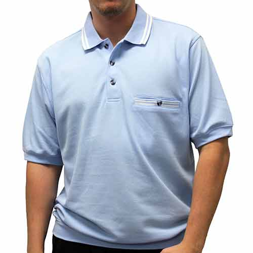 Safe Harbor Solid Textured Short Sleeve Banded Bottom Shirt 6070-226 Light Blue