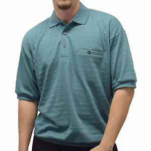Classics By Palmland Allover Short Sleeve Banded Bottom Shirt - 6070-227BT Sage - bandedbottom