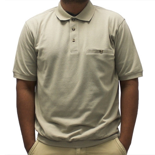 Safe Harbor Short Sleeve Banded Bottom Shirt 6070-235BT Taupe - bandedbottom