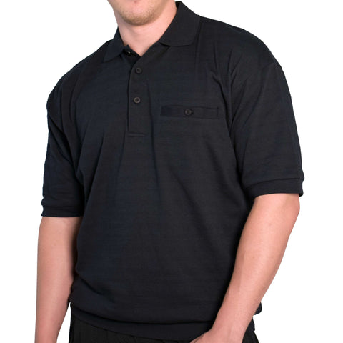 LD Sport Solid Pique Short Sleeve Banded Bottom Shirt 6070-237 Black - bandedbottom