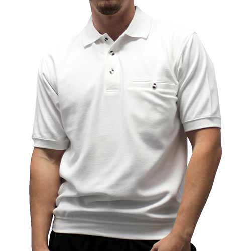 Safe Harbor Solid Textured Short Sleeve Banded Bottom Shirt 6070-216 WHITE