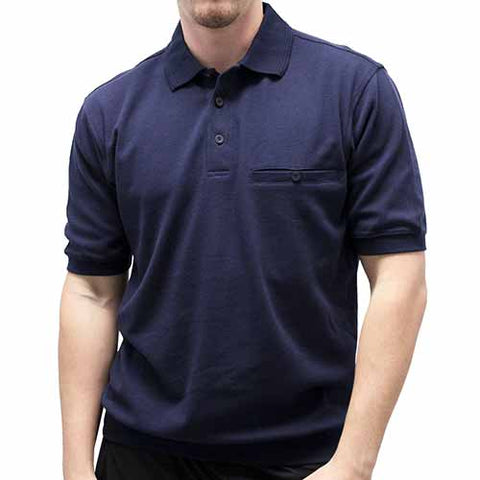 Safe Harbor Solid Textured Short Sleeve Banded Bottom Shirt 6070-218 Navy