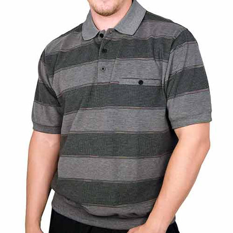 Classics by Palmland Allover Short Sleeve Banded Bottom Shirt 112029 - Black - bandedbottom
