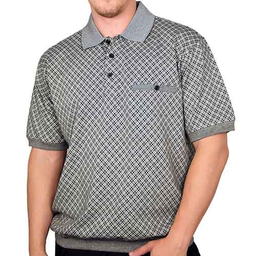 Classics by Palmland Allover Short Sleeve Banded Bottom Shirt 6070-305 Black - theflagshirt