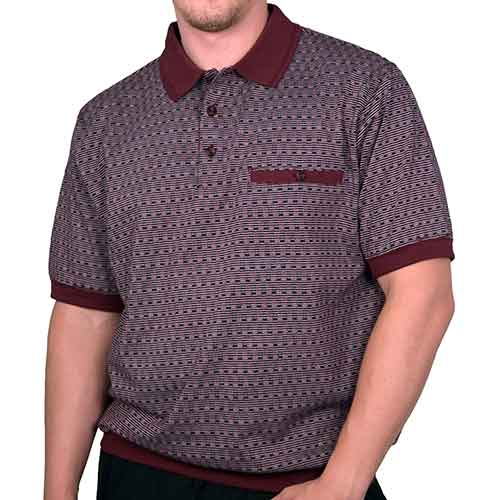 Classics by Palmland Allover Short Sleeve Banded Bottom Shirt 6070-310 Burgundy - theflagshirt