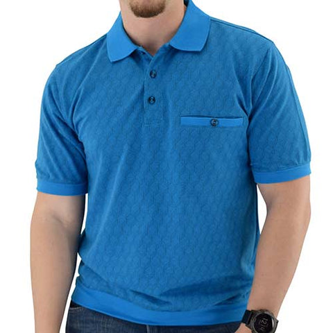 Classics by Palmland Short Sleeve Jacquard Banded Bottom Shirt -6070-323 - theflagshirt