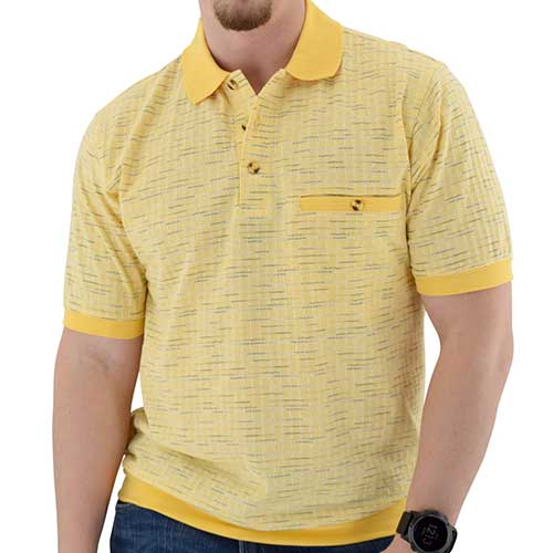 Classics by Palmland Short Sleeve Jacquard Banded Bottom Shirt - 6070-324 - theflagshirt