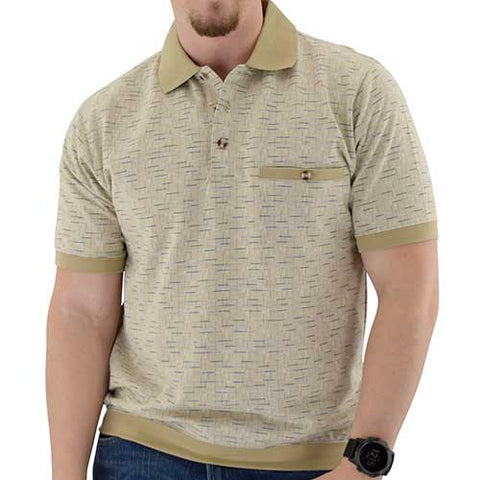 Short Sleeve 3 Button Banded Bottom Knit Collar Taupe 6190-192 - bandedbottom