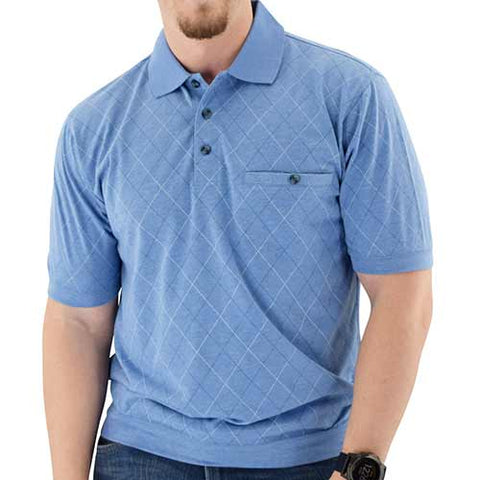 Short Sleeve 3 Button Banded Bottom Knit Collar Shirt - Blue Hth