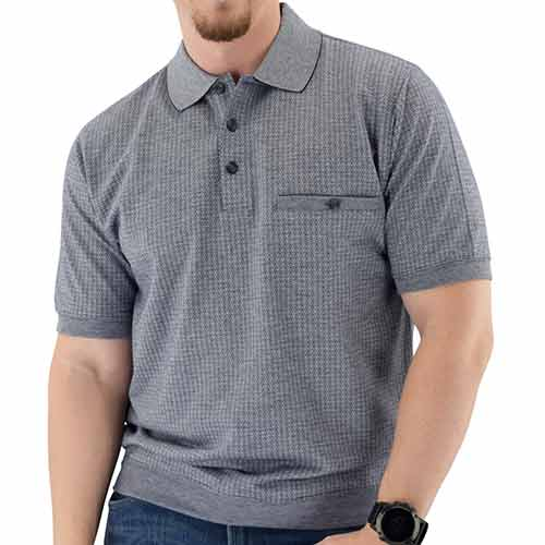 Short Sleeve 3 Button Banded Bottom Knit Collar - Big and Tall Navy