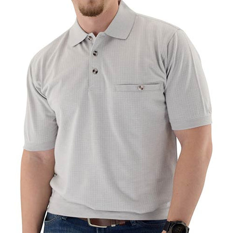 Classics by Palmland Short Sleeve 3 Button Banded Bottom Knit Collar Tan 6070-354 - theflagshirt