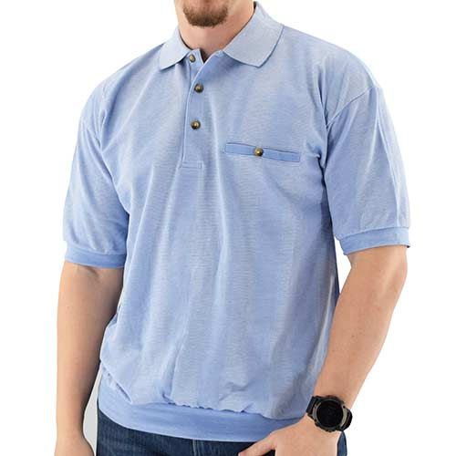 Classics By Palmland Short Sleeve Banded Bottom Shirt 6070-245 Light Blue - Big and Tall - theflagshirt