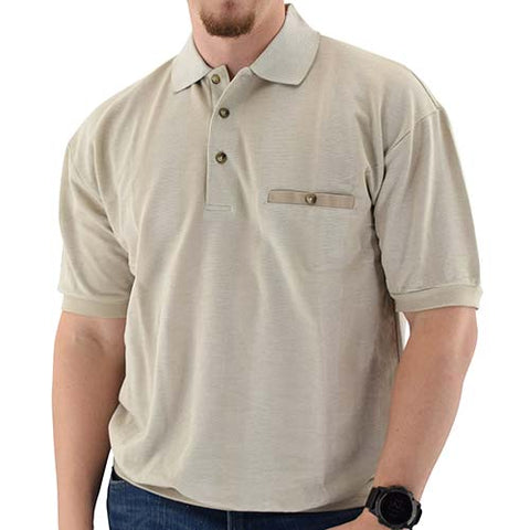 Classics by Palmland Short Sleeve 3 Button Banded Bottom Knit Collar Shirt Taupe - theflagshirt