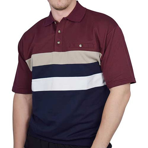 Classics by Palmland Horizontal Stripes SS Banded Bottom Shirt 6090-210 Burgundy - theflagshirt
