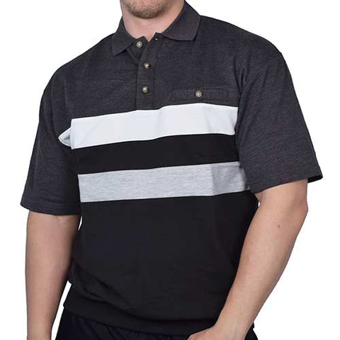 Classic by Palmland Horizontal Stripes SS Banded Bottom Shirt 6090-210 Charcoal - theflagshirt