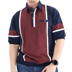 Classics by Palmland Two Tone Banded Bottom Shirt Burgundy - 6090-262B Big and Tall - theflagshirt