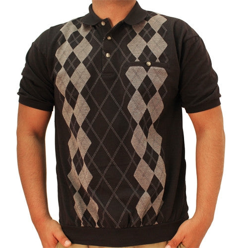 LD Sport Short Sleeve Jacquard Banded Bottom Shirt 6090-351 Black - theflagshirt