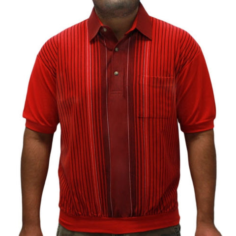 LD Sport Vertical Striped Short Sleeve Banded Bottom Shirt 6090-352 Red - bandedbottom