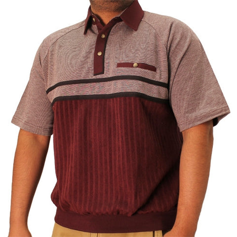 Classics by Palmland French Terry Short Sleeve Banded Bottom Shirt - 6090-450 Burgundy - bandedbottom