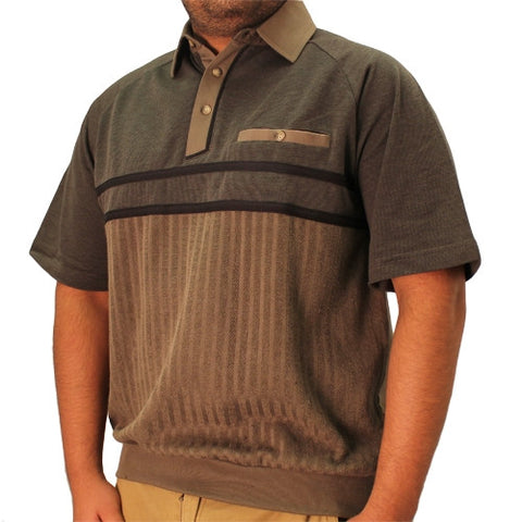 Classics by Palmland French Terry Short Sleeve Banded Bottom Shirt - 6090-450 Olive - bandedbottom