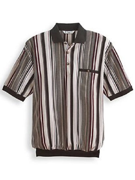 Palmland Pique Shirt Sleeve Banded Bottom Shirt - 6090-599B Black - theflagshirt