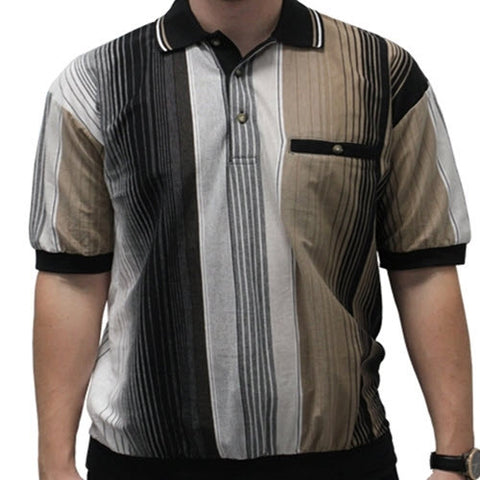 Classics By Palmland  Vertical Short Sleeve Banded Bottom Shirt 6090-603 Black - bandedbottom