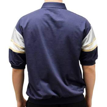 Classics By Palmland S/S Horizontal Pieced Banded Bottom BL20-6090BT-628 Navy - theflagshirt
