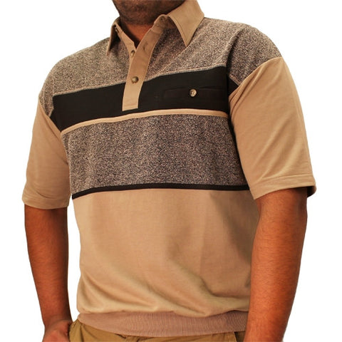 Classics by Palmland French Terry Short Sleeve Banded Bottom Shirt - 6090-651 Taupe - theflagshirt