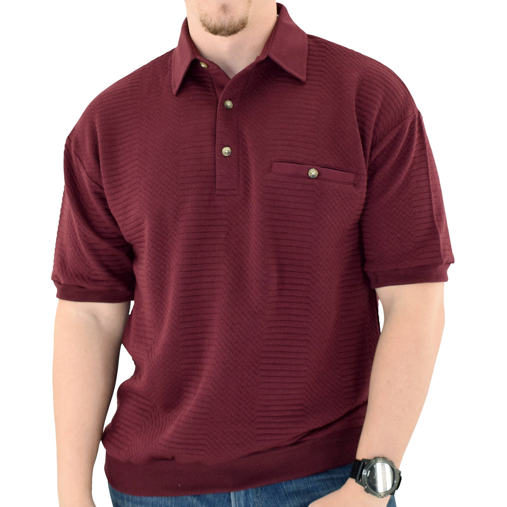 Palmland Solid French Terry Short Sleeve Banded Bottom Polo Shirt 6090-780 Burgundy - theflagshirt