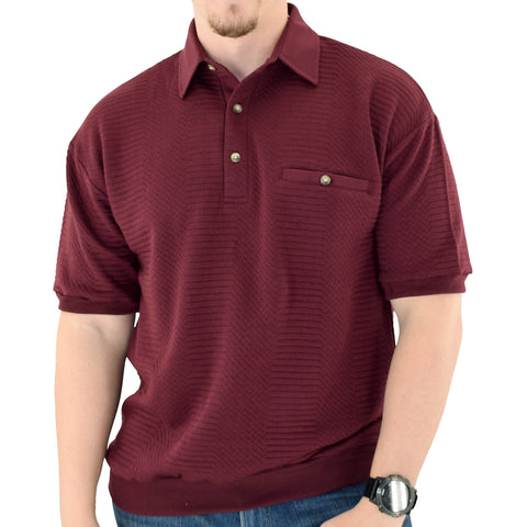 Palmland Solid French Terry Short Sleeve Banded Bottom Polo Shirt 6090-780 Burgundy - Banded Bottom