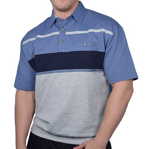 Classics by Palmland Horizontal Stripes SS Banded Bottom Shirt 6090-736BT Blue HT-Big and Tall - bandedbottom