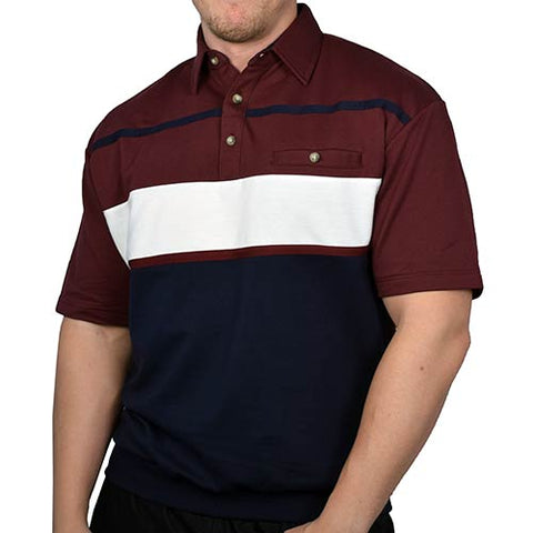 Classics by Palmland Horizontal Stripes SS Banded Bottom Shirt 6090-736 Burgundy - theflagshirt