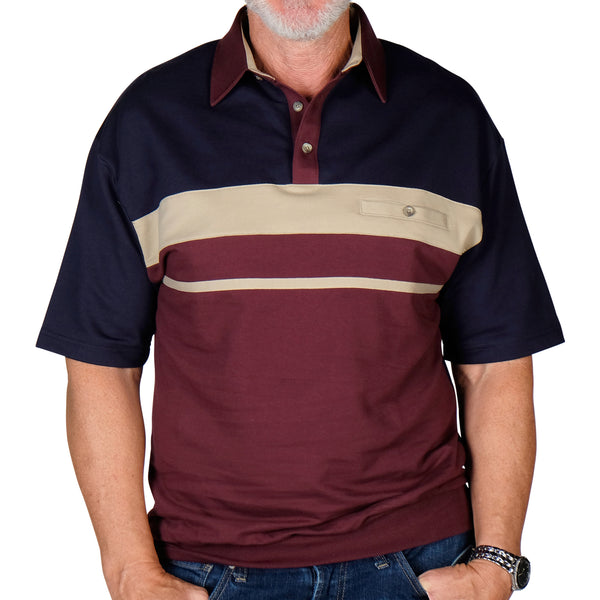 Classics By Palmland Horizontal Stripes SS Banded Bottom Shirt 6090-739 Burgundy - bandedbottom