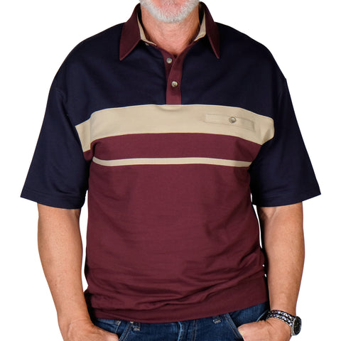 Classics By Palmland Horizontal Stripes SS Banded Bottom Shirt 6090-739 Burgundy - theflagshirt
