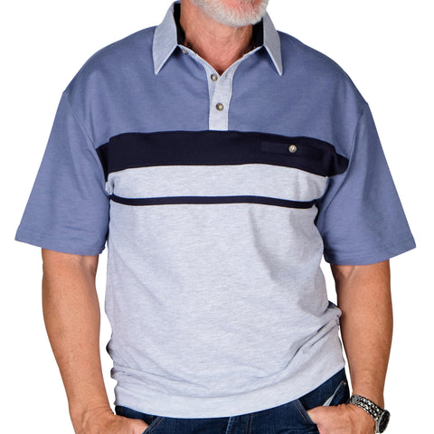 Classics By Palmland Horizontal Stripes SS Banded Bottom Shirt 6090-739 Grey HT - theflagshirt