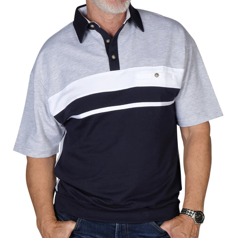 Classics By Palmland Horizontal Stripes SS Banded Bottom Shirt 6090-739 Navy - theflagshirt