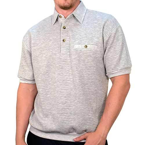 Palmland Solid French Terry Short Sleeve Banded Bottom Polo Shirt 6090-720 Big and Tall - Grey HT - theflagshirt