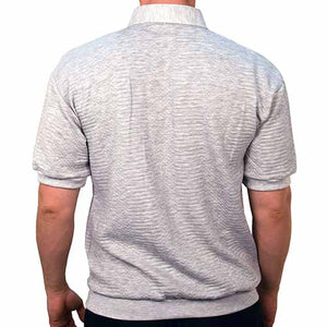 Classics By Palmland Solid French Terry Short Sleeve Banded Bottom Polo Shirt 6090-780 Grey Heather - theflagshirt