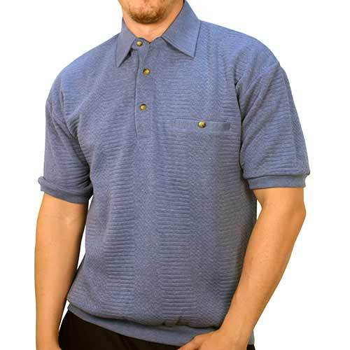 Classics By Palmland Solid French Terry Short SLeeve Banded Bottom Polo Shirt 6090-720 Big and Tall - LT.Blue - theflagshirt