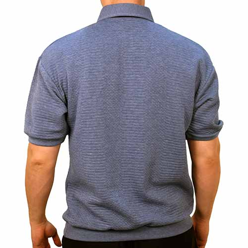 Classics by Palmland French Terry Short Sleeve  Banded Bottom Shirt 6090-780 Lt Blue - bandedbottom