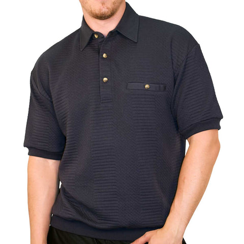 Classics By Palmland Solid French Terry Short SLeeve Banded Bottom Polo Shirt 6090-780 Navy Hth - theflagshirt