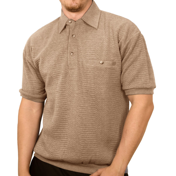 Classics by Palmland French Terry Short Sleeve  Banded Bottom Shirt 6090-720 Taupe HT - bandedbottom