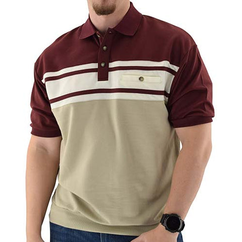 Classics by Palmland Horizontal French Terry Short Sleeve Banded Bottom Shirt Burg - 6090-BL1 - theflagshirt