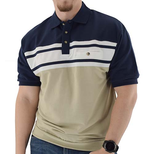 Classics by Palmland Horizontal French Terry Short Sleeve Banded Bottom Shirt 6090-BL1BT Navy - bandedbottom