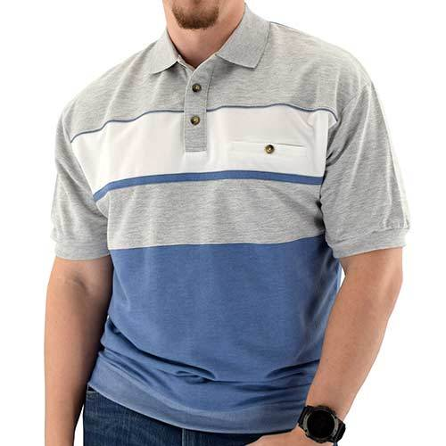 Classics by Palmland Horizontal French Terry Knit Banded Bottom Shirt 6090-BL2BT Blue Hth - bandedbottom