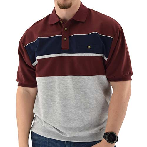 Classics by Palmland Horizontal French Terry knit Banded Bottom Shirt Burgundy - 6090-BL2 - theflagshirt