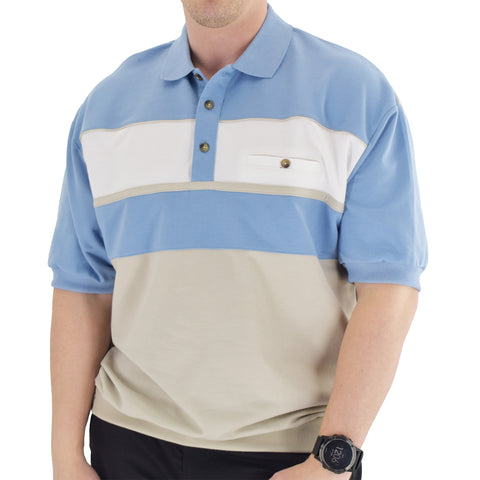 Classics by Palmland Horizontal French Terry knit Banded Bottom Shirt Light Blue - 6090-BL2 - theflagshirt