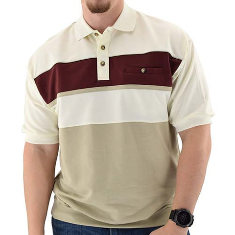 Classics by Palmland Horizontal French Terry knit Banded Bottom Shirt Natural - 6090-BL2 - theflagshirt