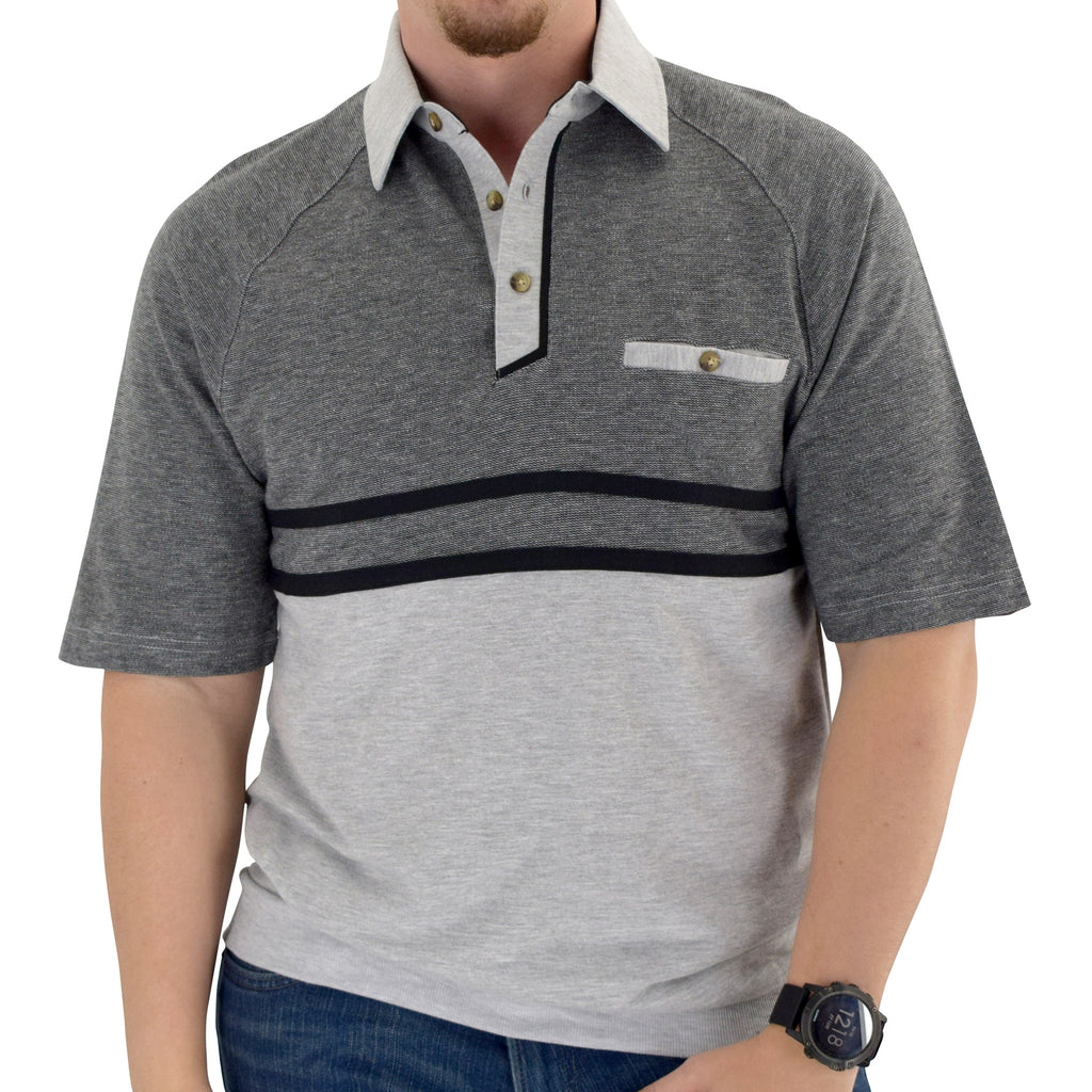 Classics by Palmland Horizontal French Terry knit Banded Bottom Shirt Grey - 6090-BL4 - theflagshirt